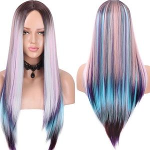 """✨Randy 22"""" Colorful Ombré MIDDLE PART Cos Play WIG"""